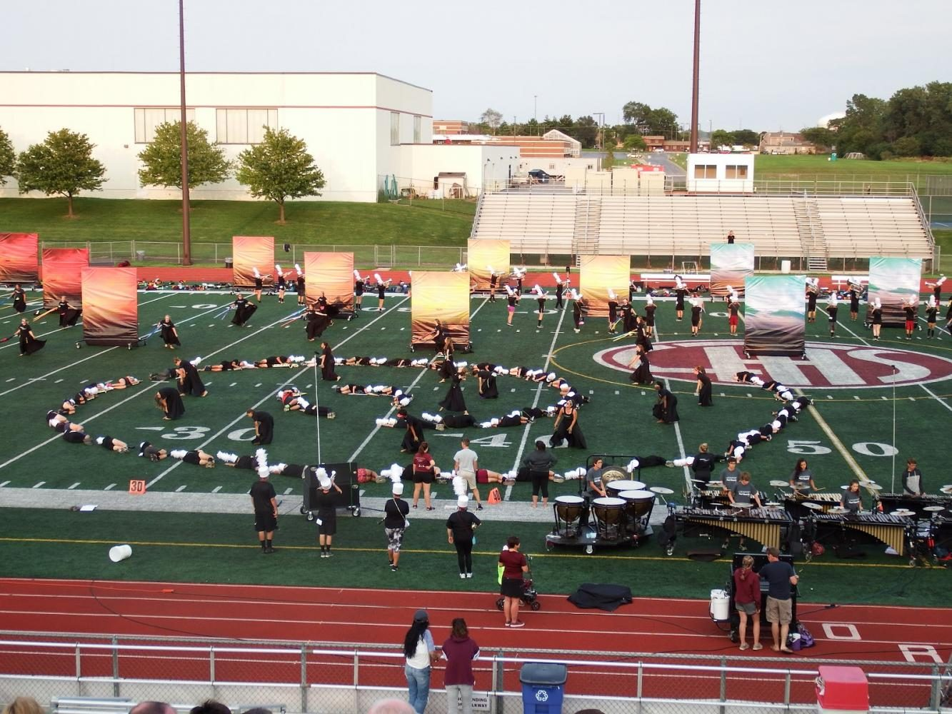 The LTHS band hard at work at rehearsing one of its routines.