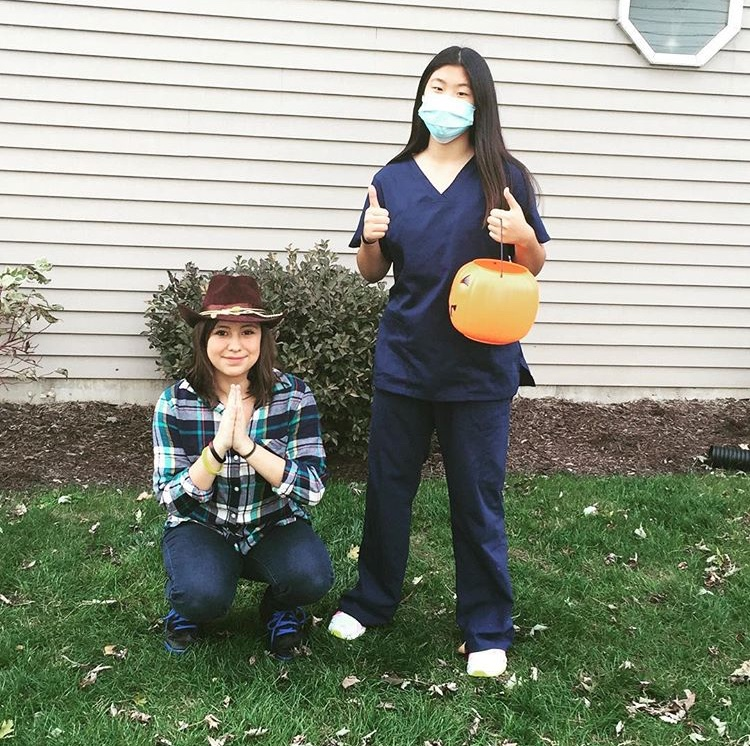 Jessica Chavez and Grace Lee at last year's Halloween when they dressed up as  characters from Grey's Anatomy and The Walking Dead.