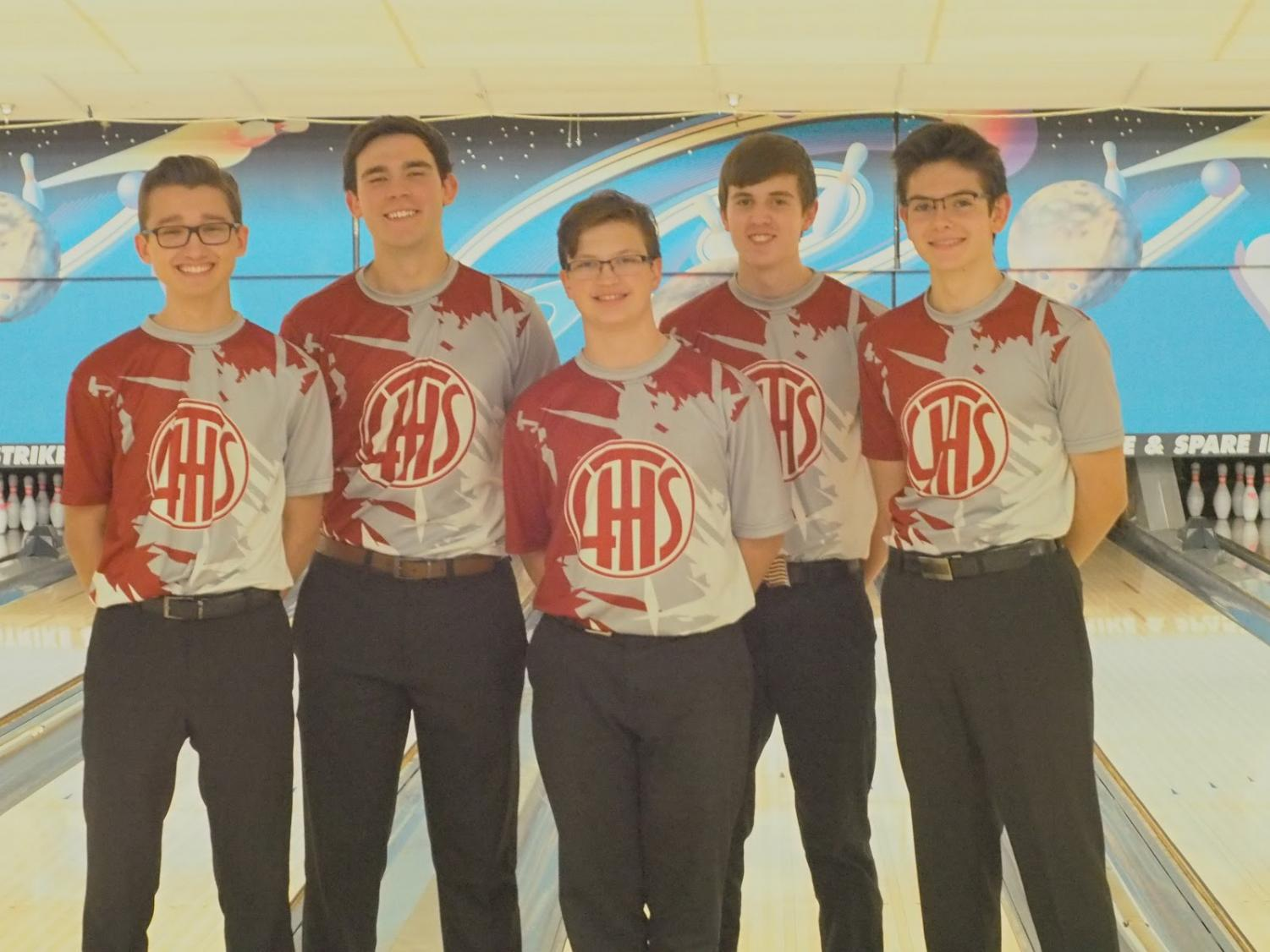 Some of the members of the Boys' Varsity Bowling Team after a win at Strike and Spare, Dec 7th