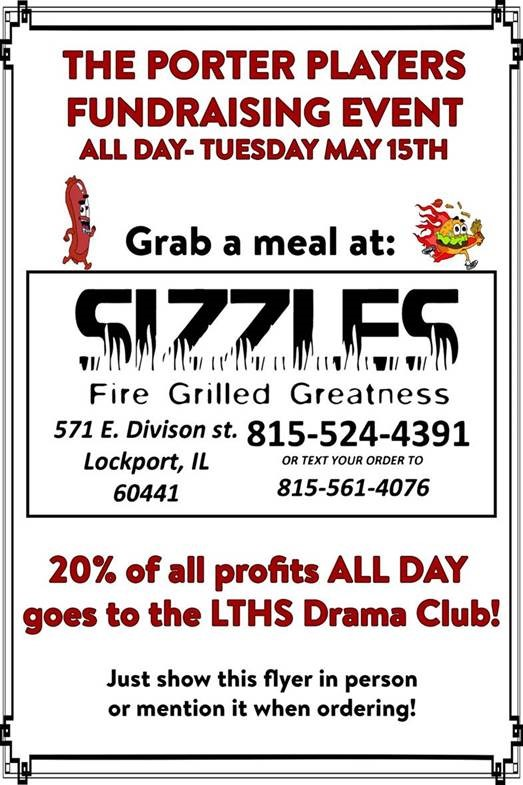 The Porter Players host fundraiser at Sizzles, May 15