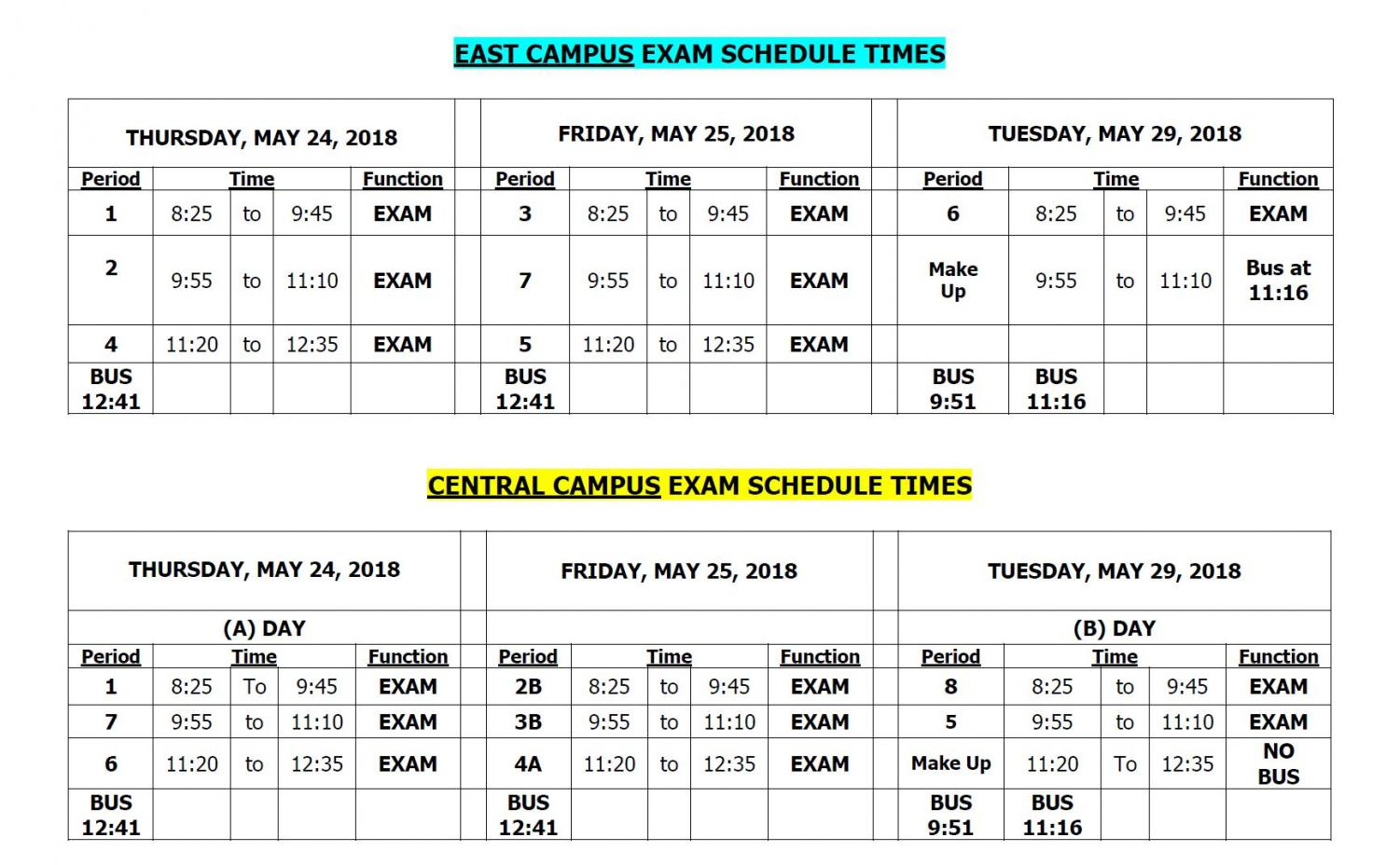 Schedule of the final exams for each campus