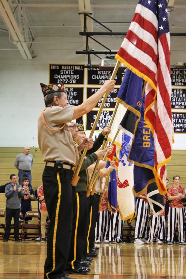 The color guard showing the colors