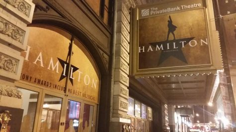 The picture above is of the Hamilton Chicago marquee at the CIBC Theatre on September 2016.