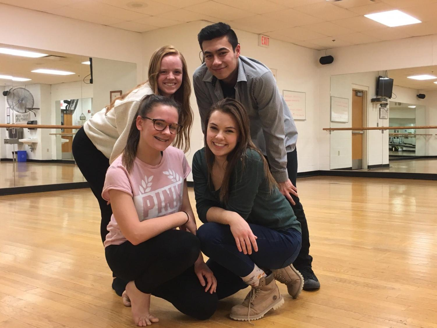Pictured are the Orchesis board members: (top left) President Amanda Pollock, (top right) Secretary Josh Wolf, (bottom left) Vice President Lexi Quemeneur, and (bottom right) Show Chairperson Sarah Evans.