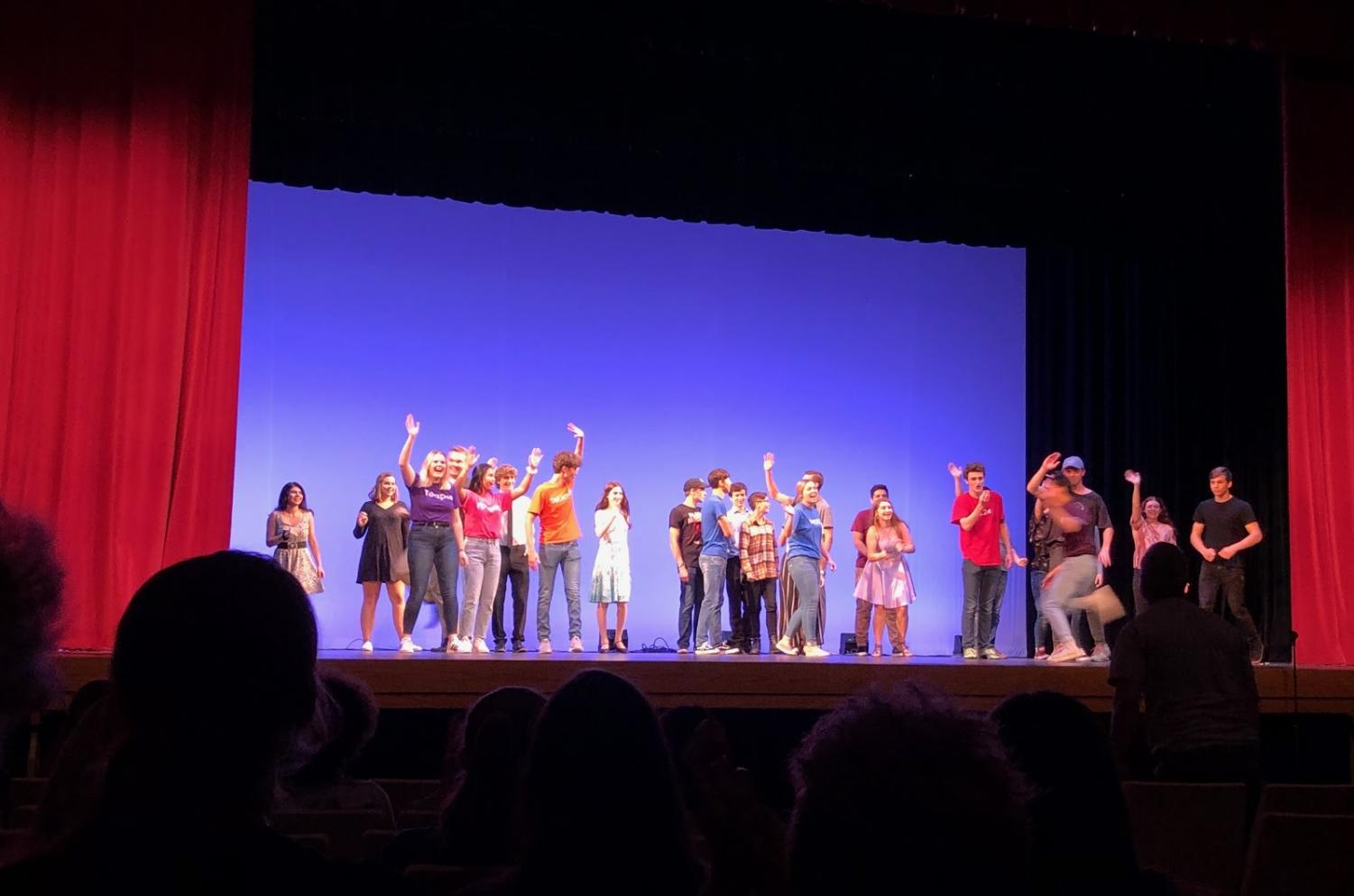 The cast and crew waving goodbye at the end of The Variety Show.