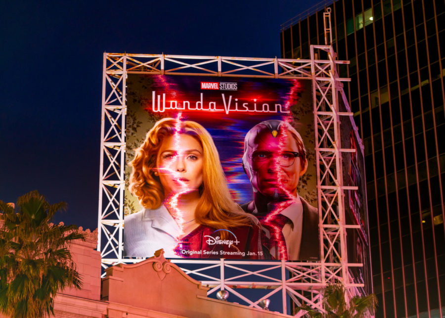 HOLLYWOOD, CA - JANUARY 13: General view of a billboard above the El Capitan Entertainment Centre promoting the upcoming season of the Disney+ Marvel Studios flagship show 'WandaVision' on January 13, 2021 in Hollywood, California.  (Photo by AaronP/Bauer-Griffin/GC Images)